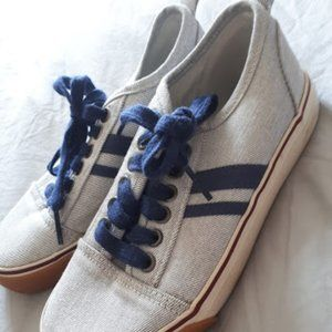 Canvas Lace Up Sneakers Grey & Blue Boys 13